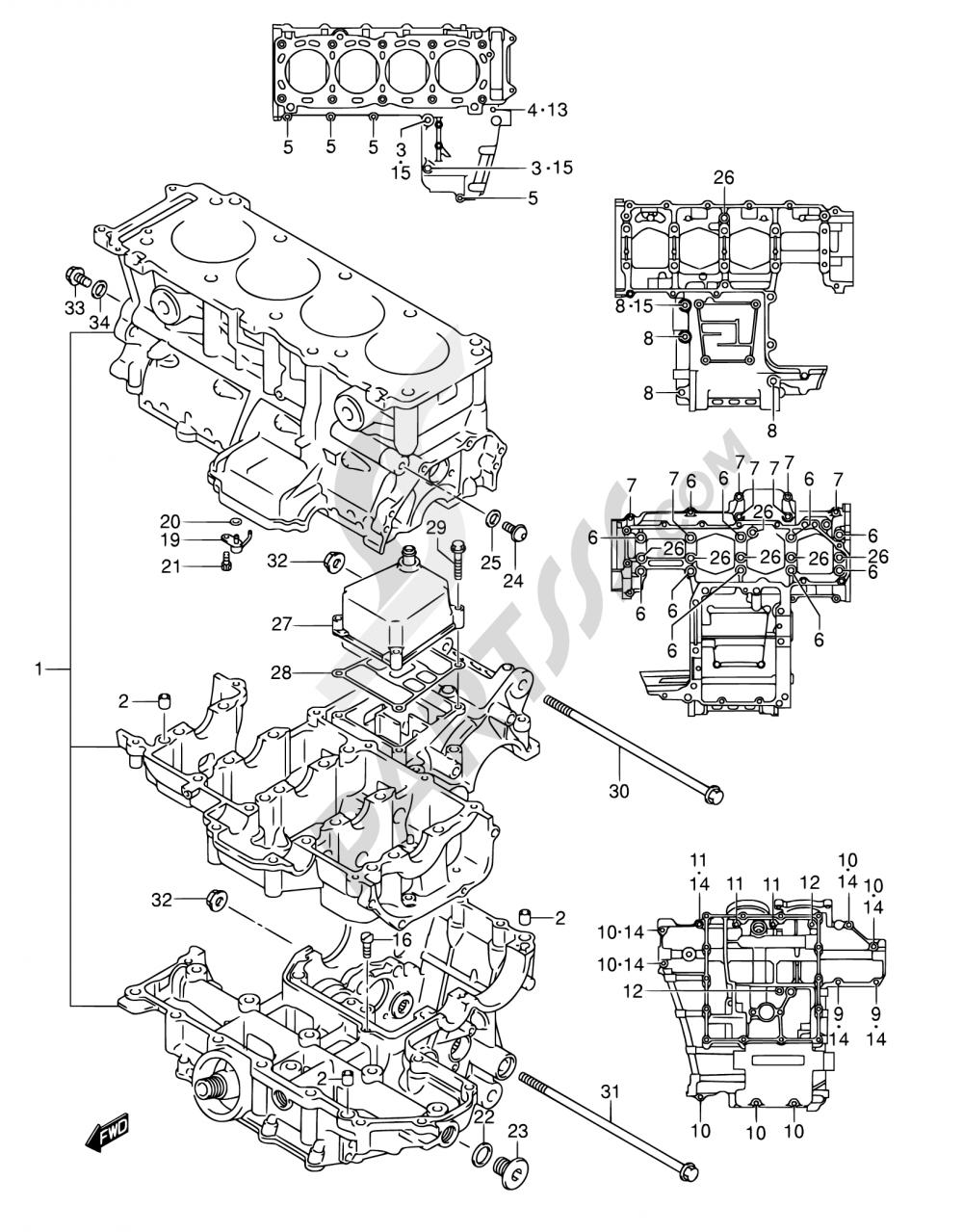 4 - CRANKCASE Suzuki GSX-R1000 2003