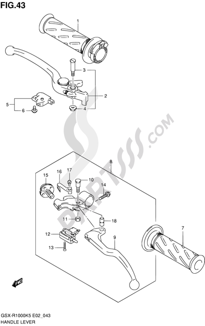 Suzuki GSX-R1000 2005 43 - HANDLE LEVER