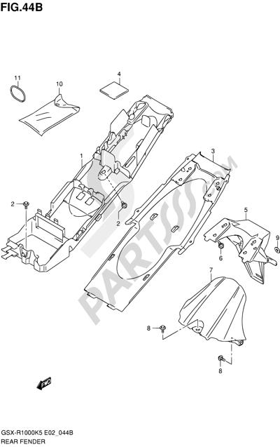 Suzuki GSX-R1000 2005 44B - REAR FENDER (GSX-R1000K6 E02,E19,E24,P37)