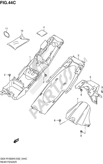Suzuki GSX-R1000 2005 44C - REAR FENDER (GSX-R1000U2K6 E19)
