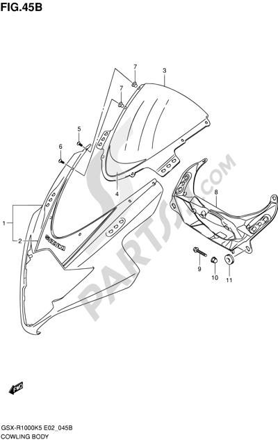 Suzuki GSX-R1000 2005 45B - COWLING BODY (GSX-R1000K6 E02,E19,E24,P37)
