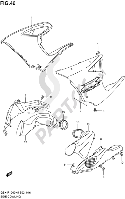 Suzuki GSX-R1000 2005 46 - SIDE COWLING (GSX-R1000K5 E02,E19,E24,P37)