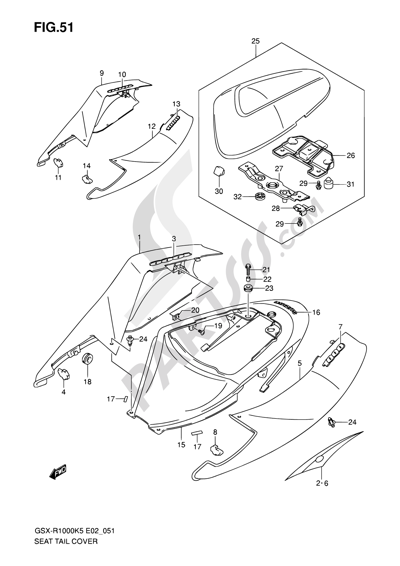 Suzuki GSX-R1000 2005 51 - SEAT TAIL COVER (GSX-R1000K5 E02,E19,U2E19,E24,P37)
