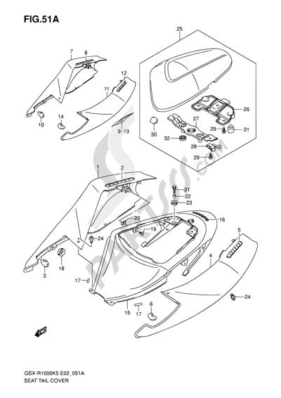 Suzuki GSX-R1000 2005 51A - SEAT TAIL COVER (GSX-R1000K6 E02,E19,U2E19,E24,P37)