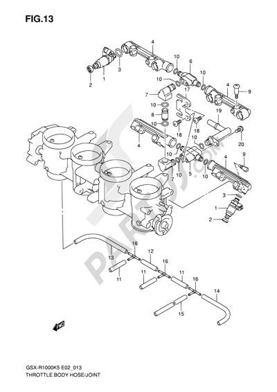 Suzuki GSX-R1000 2005 13 - THROTTLE BODY HOSE/JOINT