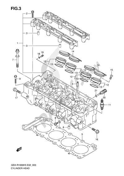 Suzuki GSX-R1000 2005 3 - CYLINDER HEAD