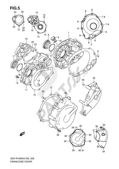 Suzuki GSX-R1000 2005 5 - CRANKCASE COVER