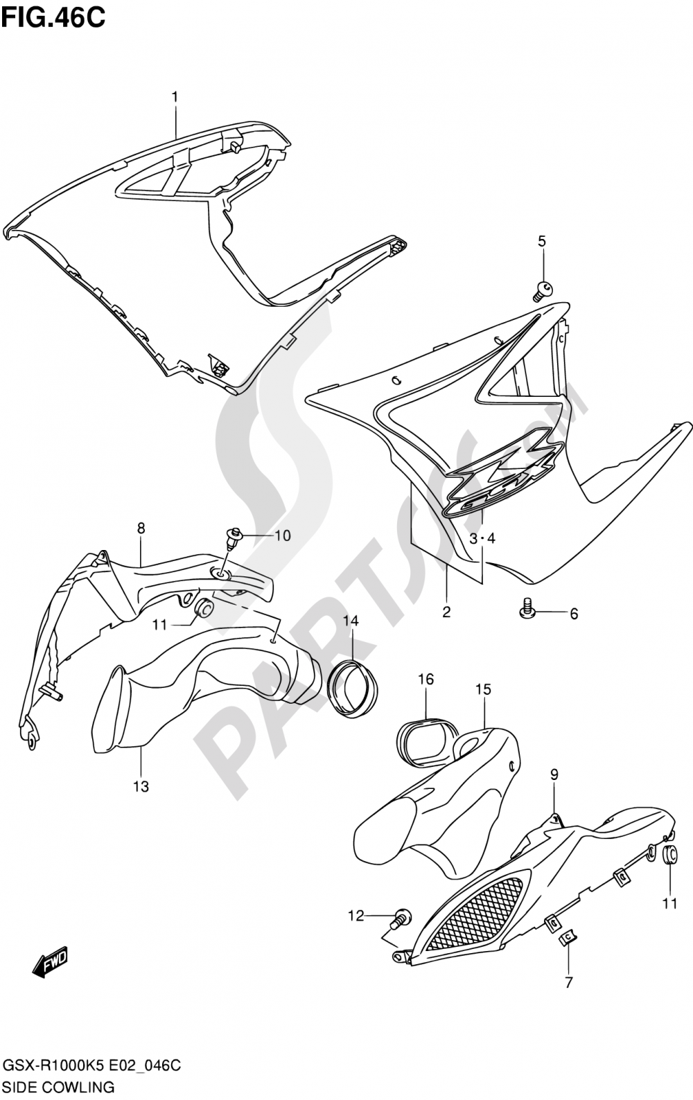 46C - SIDE COWLING (GSX-R1000U2K6 E19) Suzuki GSX-R1000 2006
