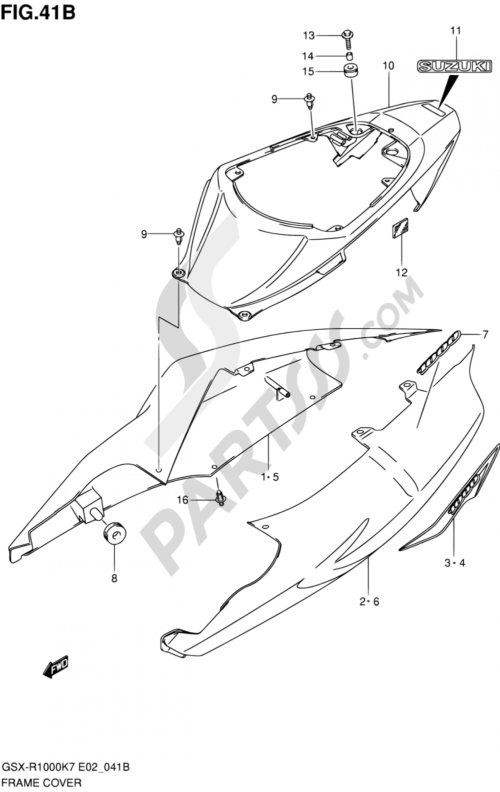 41B - FRAME COVER (GSX-R1000K8 E02,E19,E24,E51,P37) Suzuki GSX-R1000 2008
