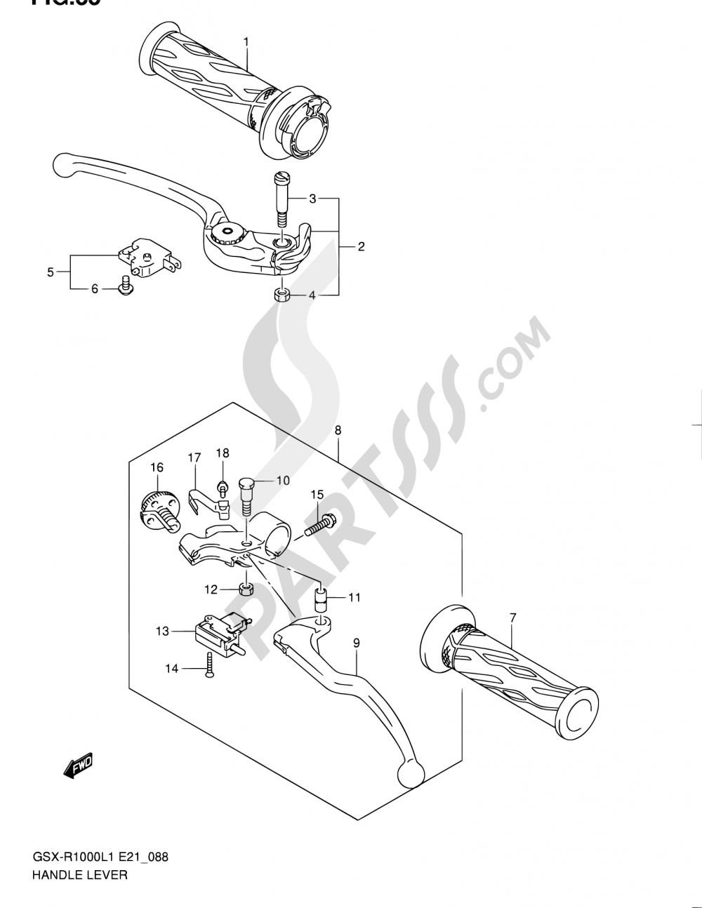 88 - HANDLE LEVER Suzuki GSX-R1000 2011