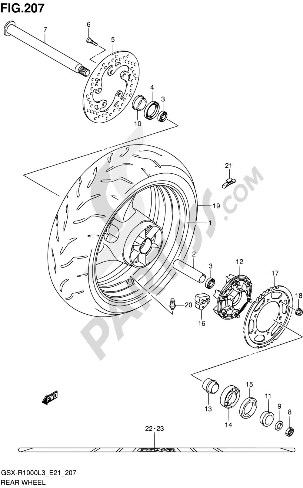 207 - REAR WHEEL (GSX-R1000ZUFL3 E21) Suzuki GSX-R1000 2013