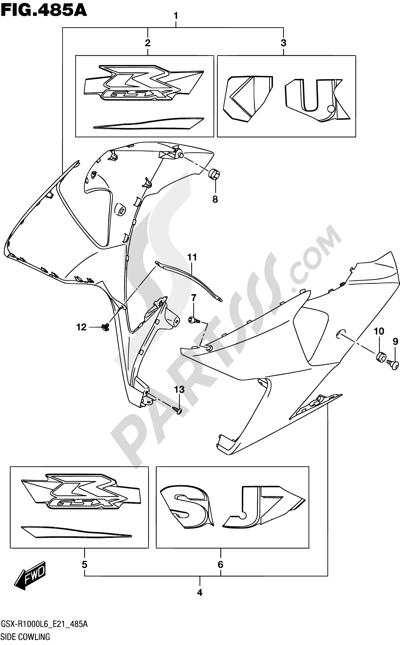 Suzuki GSX-R1000A 2016 485A - SIDE COWLING (YSF)