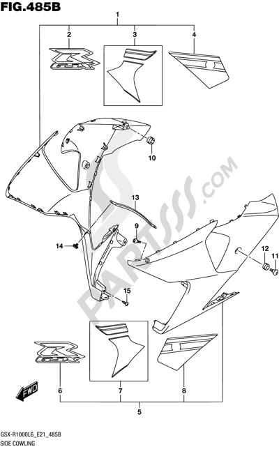 Suzuki GSX-R1000A 2016 485B - SIDE COWLING (AJP,JSP)