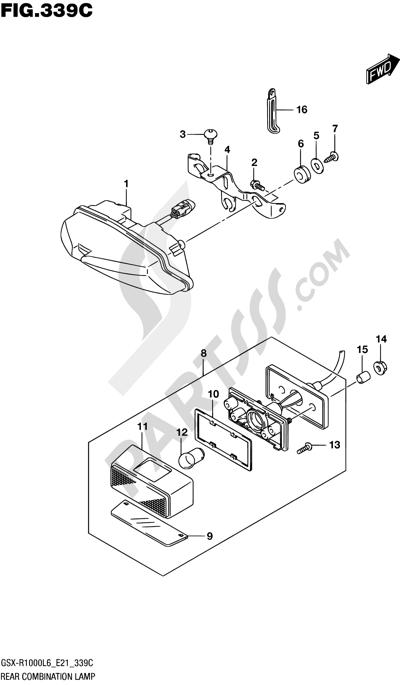 Suzuki GSX-R1000A 2016 339C - REAR COMBINATION LAMP (GSX-R1000UFL6 E21)