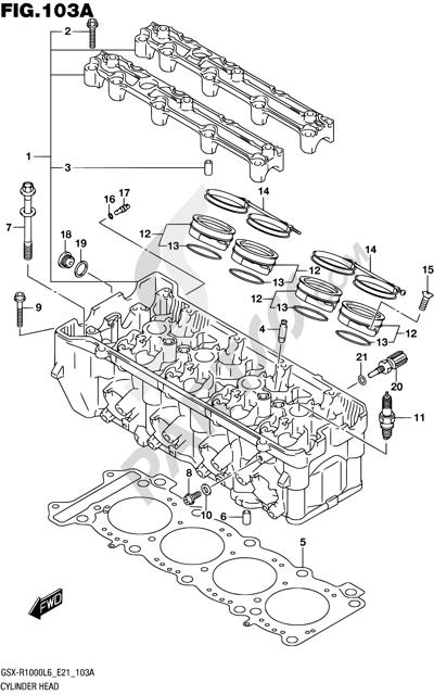 Suzuki GSX-R1000A 2016 103A - CYLINDER HEAD