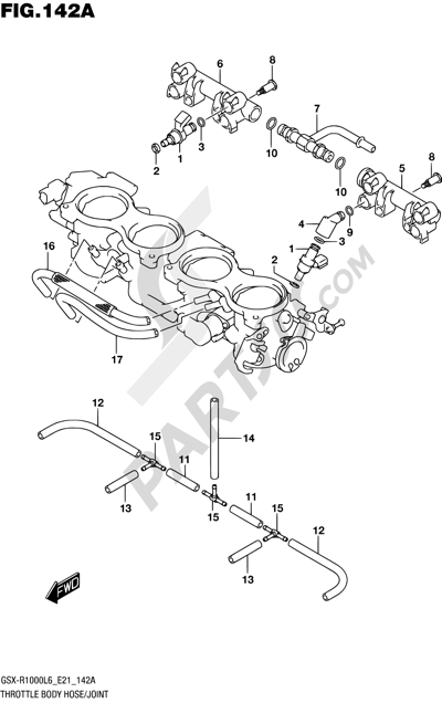 Suzuki GSX-R1000A 2016 142A - THROTTLE BODY HOSE/JOINT