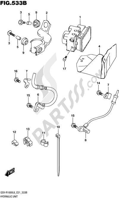 Suzuki GSX-R1000A 2016 533B - HYDRAULIC UNIT (GSX-R1000AUFL6 E21)