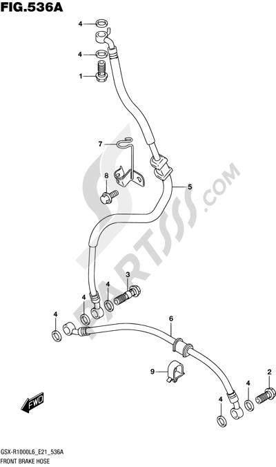 Suzuki GSX-R1000A 2016 536A - FRONT BRAKE HOSE (GSX-R1000L6 E21)