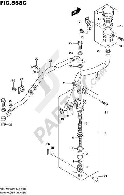 Suzuki GSX-R1000A 2016 558C - REAR MASTER CYLINDER (GSX-R1000UFL6 E21)