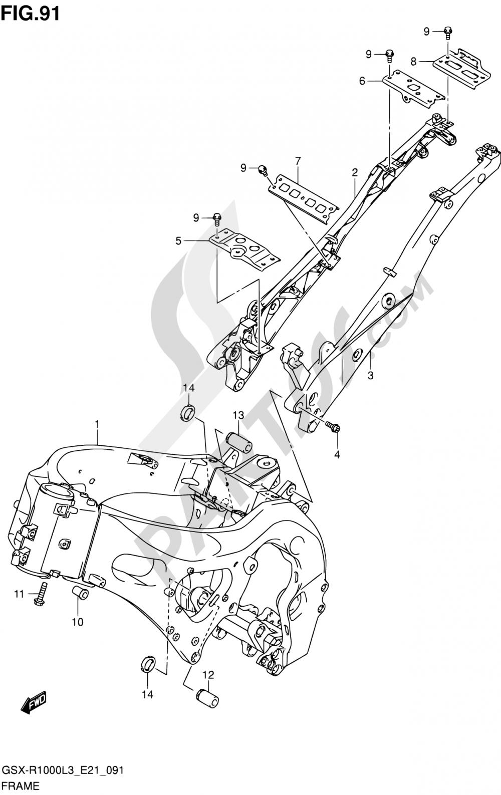 91 - FRAME (GSX-R1000ZUFL3 E21) Suzuki GSX-R1000Z 2013
