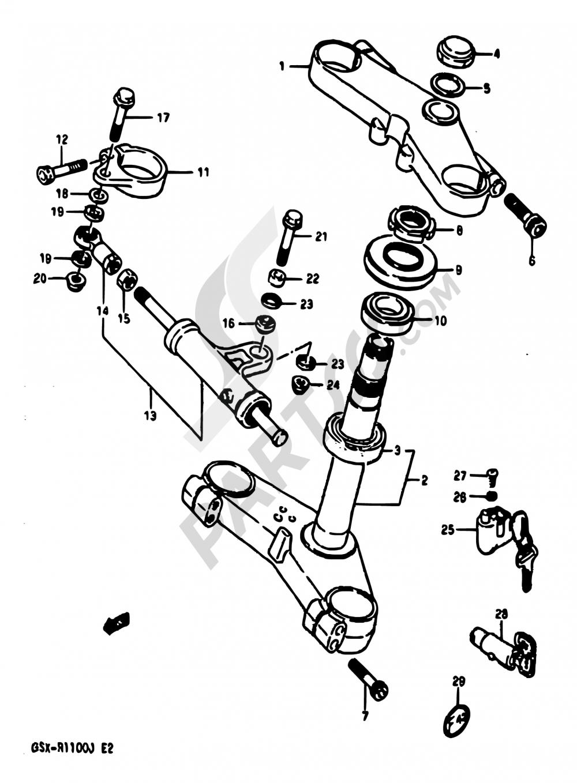 41 - STEERING STEM Suzuki GSX-R1100 1987