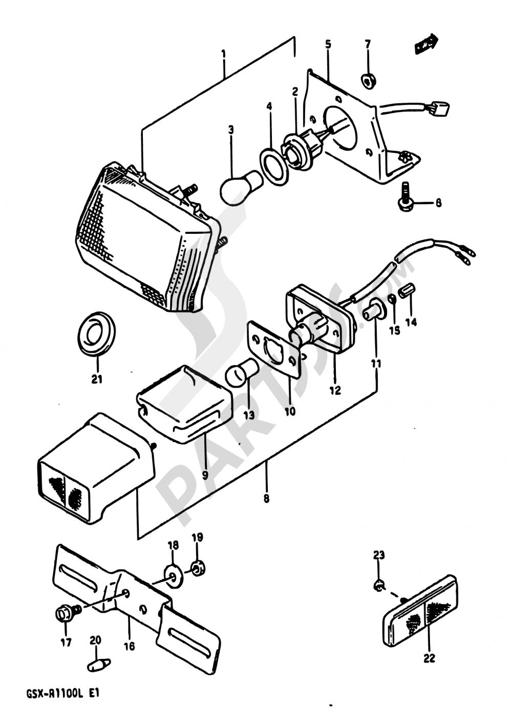 30 - TAIL LAMP-LICENSE LAMP (SEE NOTE) Suzuki GSX-R1100 1990