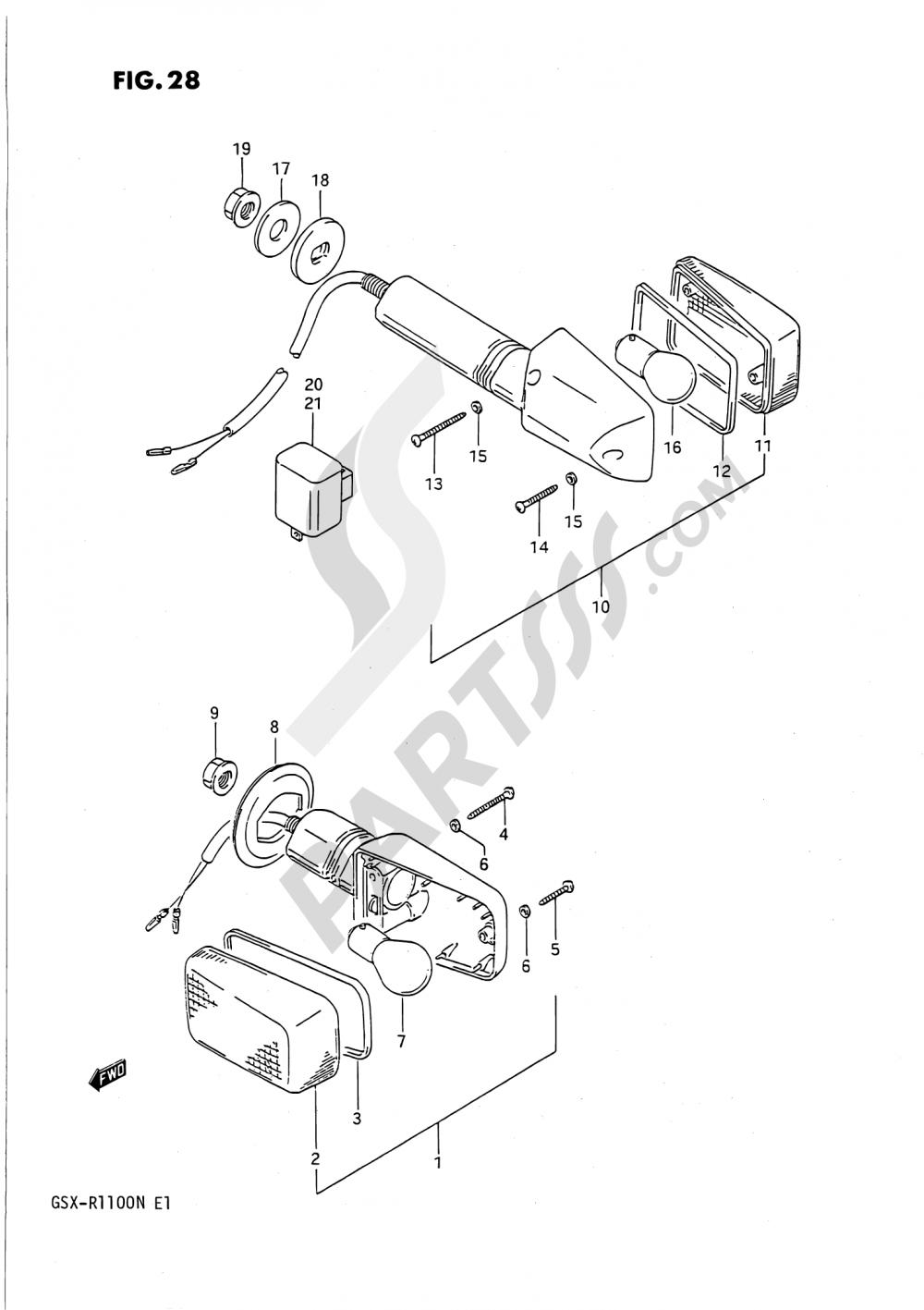 28 - TURNSIGNAL LAMP Suzuki GSX-R1100 1991