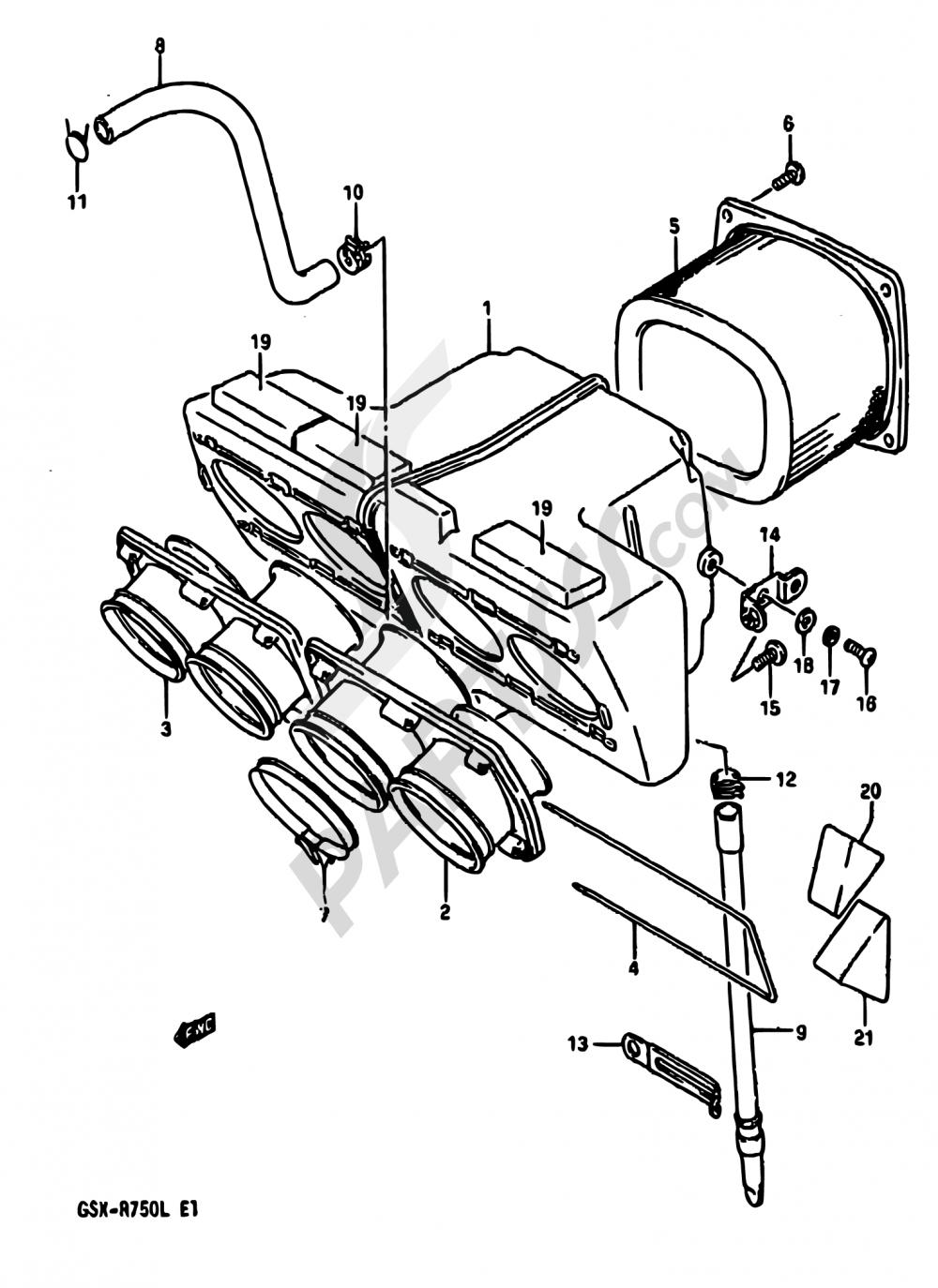 14 - AIR CLEANER (MODEL J/K) Suzuki GSX-R750 1988