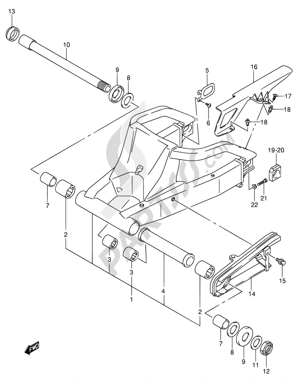 58 - REAR SWINGING ARM Suzuki GSX-R750 2004