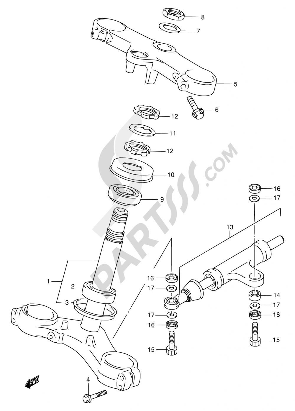 51 - STEERING STEM Suzuki GSX-R750 1996