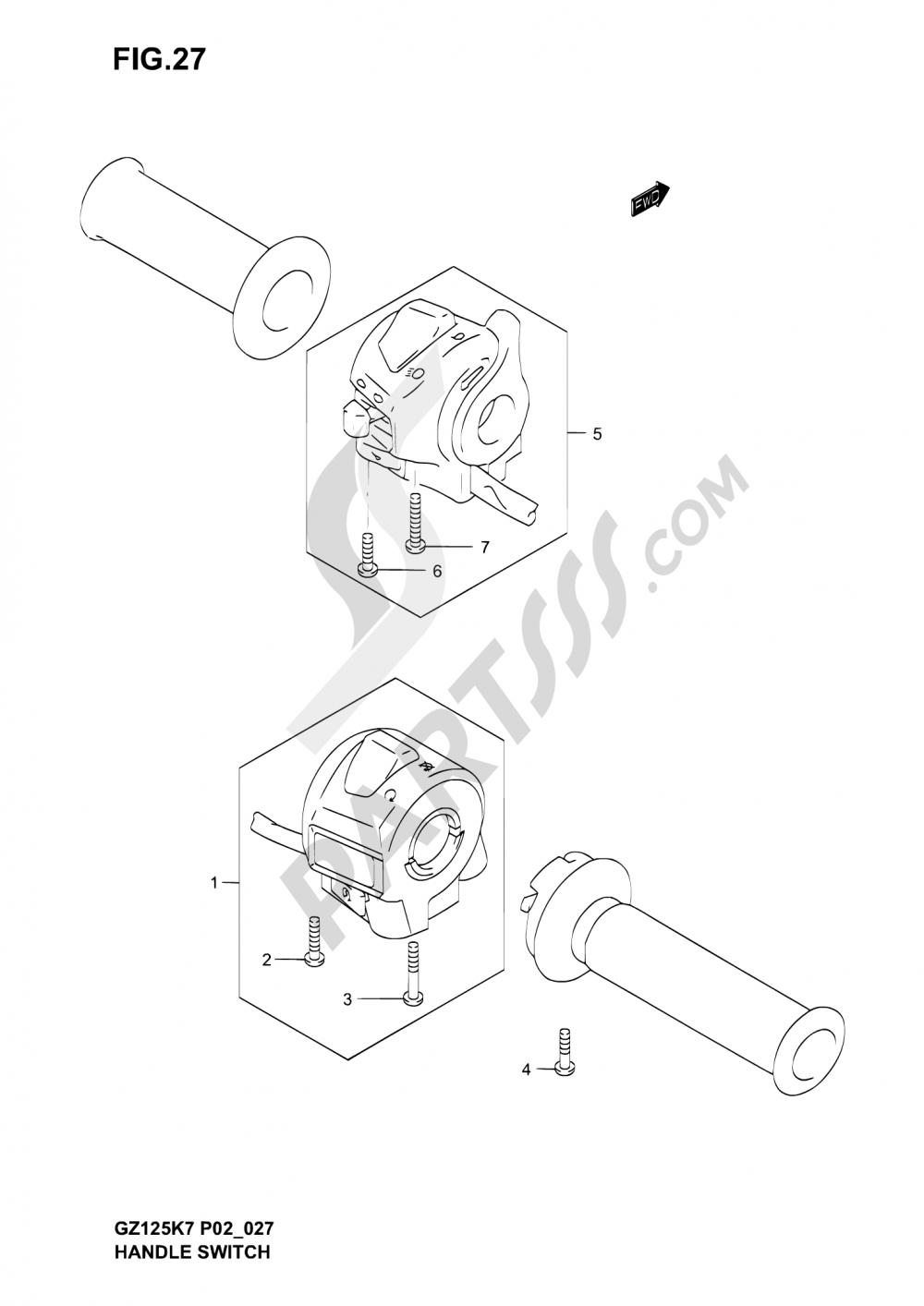 27 - HANDLE SWITCH (MODEL K3/K4/K5/K6) Suzuki MARAUDER GZ125 2006