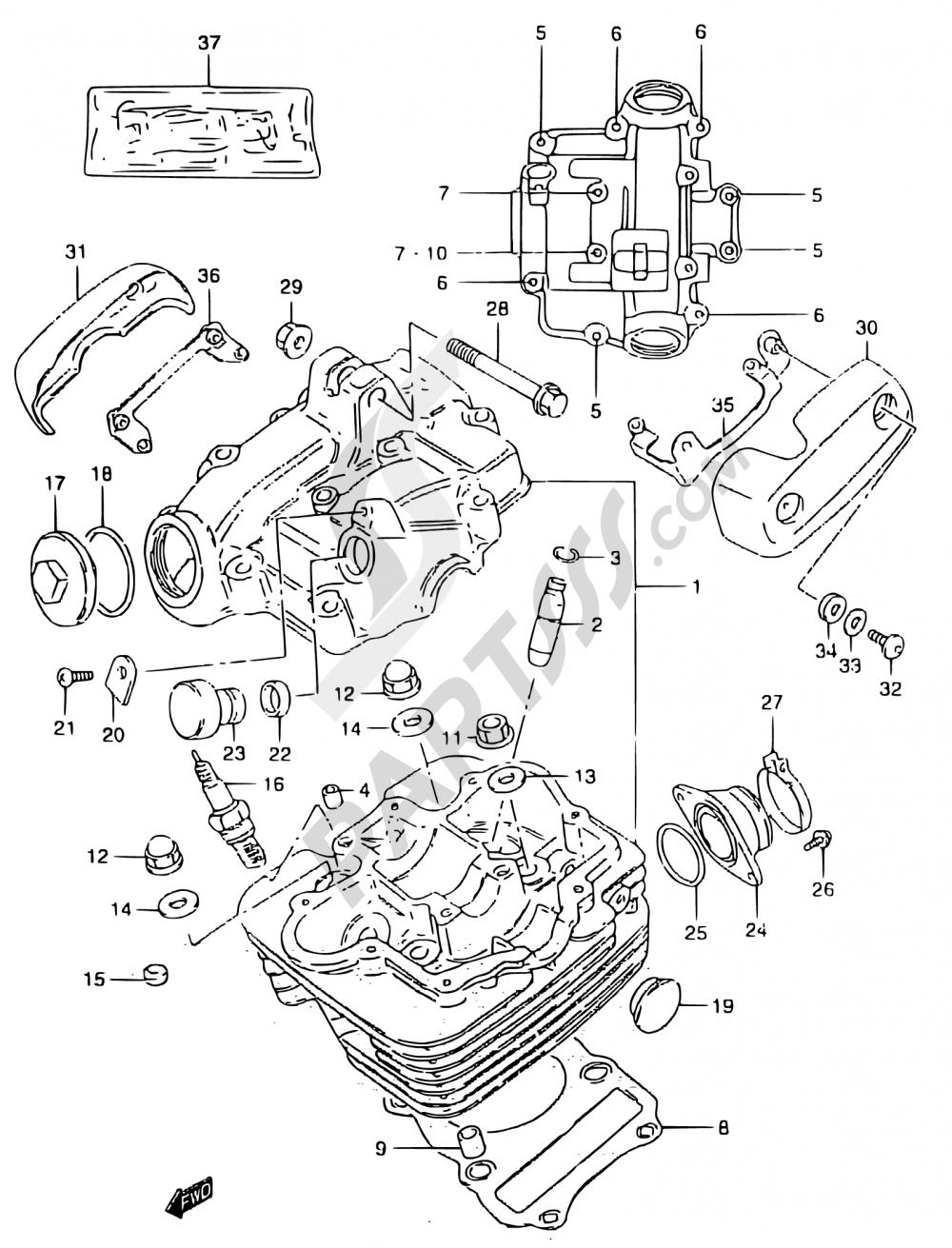 1 - CYLINDER HEAD Suzuki MARAUDER GZ125 1998