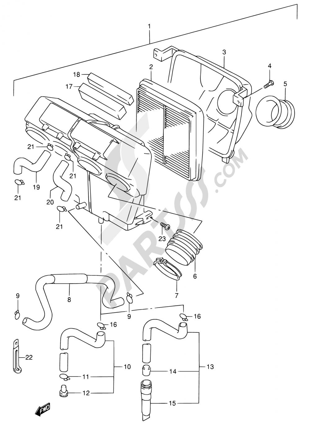 13 - AIR CLEANER Suzuki RF900R 1996