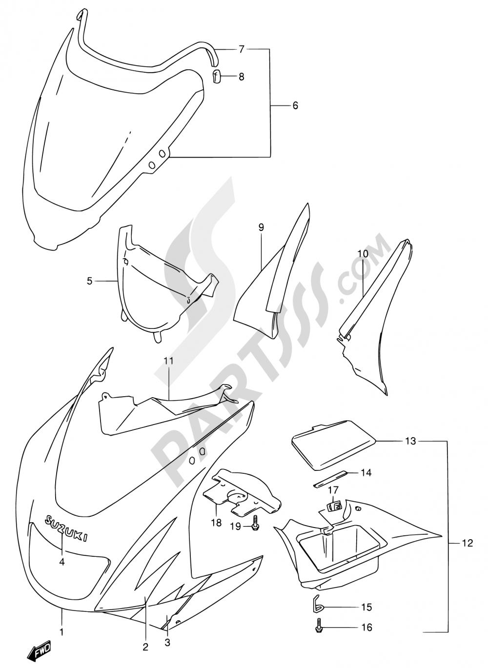 44B - COWLING BODY (RF900RT/RV) Suzuki RF900R 1997