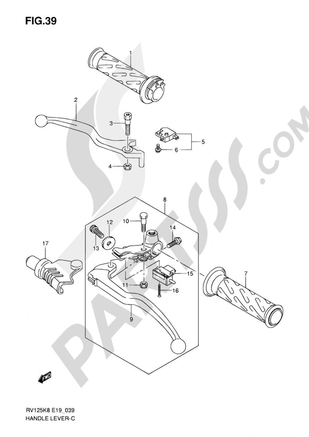 39 - HANDLE LEVER Suzuki VAN VAN RV125 2009