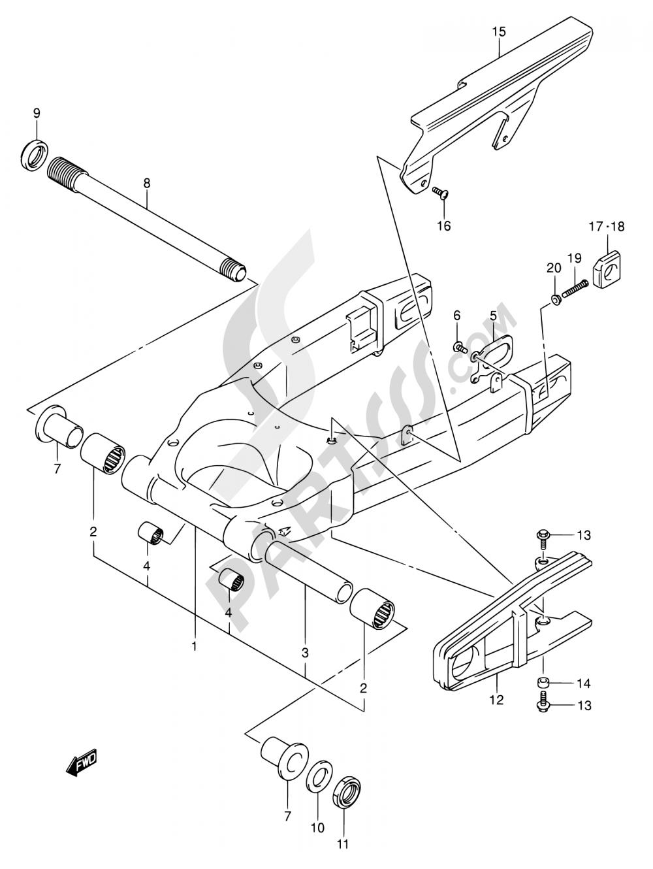 57 - REAR SWINGING ARM (MODEL K3/K4) Suzuki SV1000 2003
