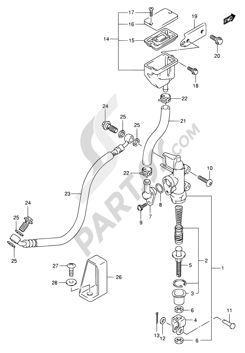 61B - REAR MASTER CYLINDER (SV1000K5/U1K5/U2K5/SK5/S1K5/S2K5) Suzuki SV1000 2004