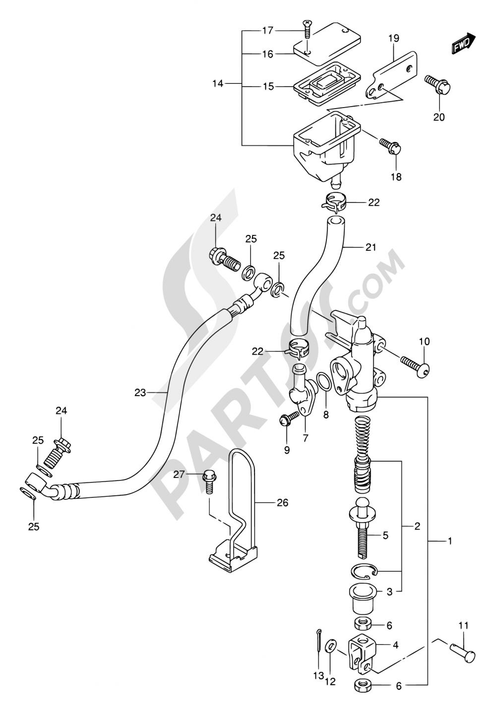61A - REAR MASTER CYLINDER (SV1000K3/U1K3/U2K3/K4/U1K4U2K4/SK4/S1K4/S2K4) Suzuki SV1000 2005