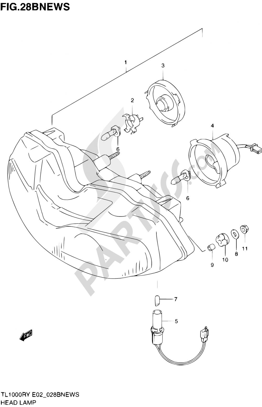 28B - HEADLAMP (E04,E18,E22,E25,E34) Suzuki TL1000R 2001