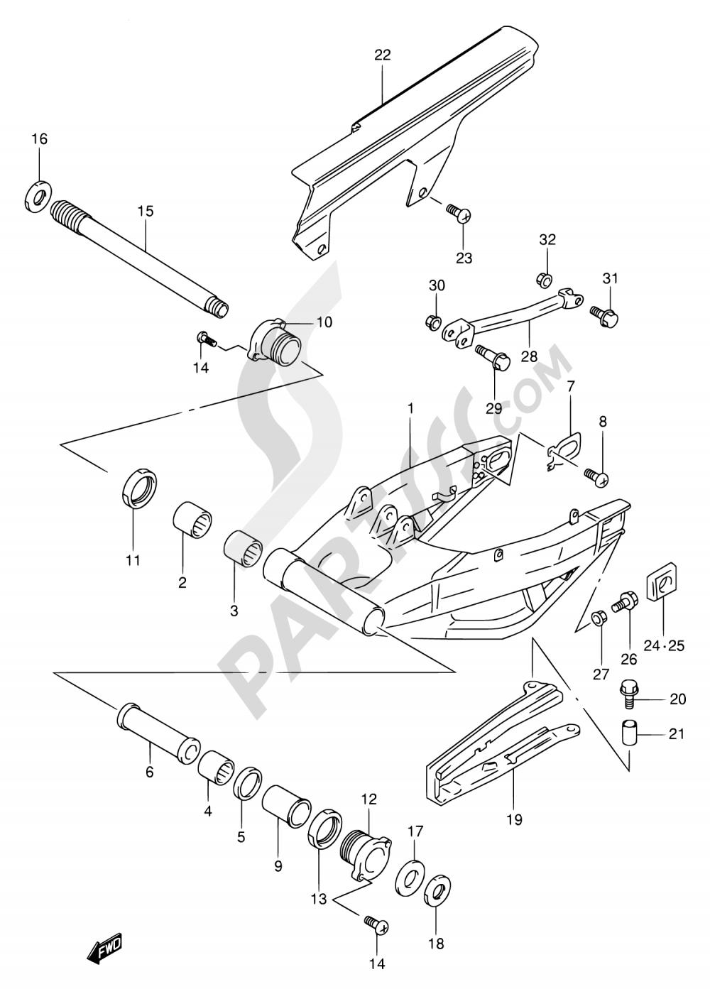 56 - REAR SWINGING ARM Suzuki TL1000R 1998