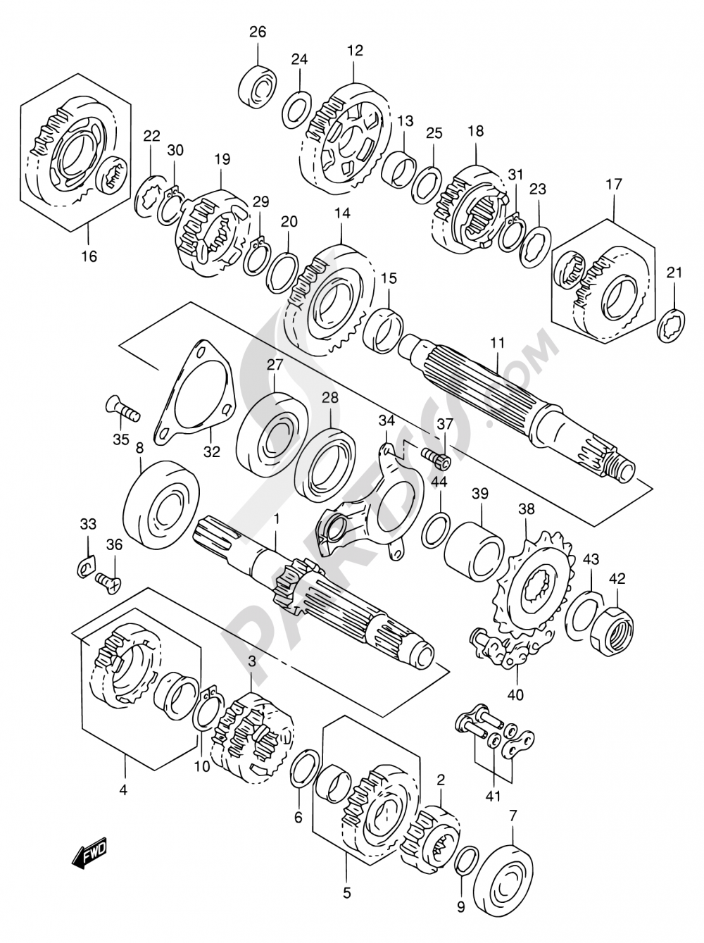 21 - TRANSMISSION Suzuki TL1000R 2000