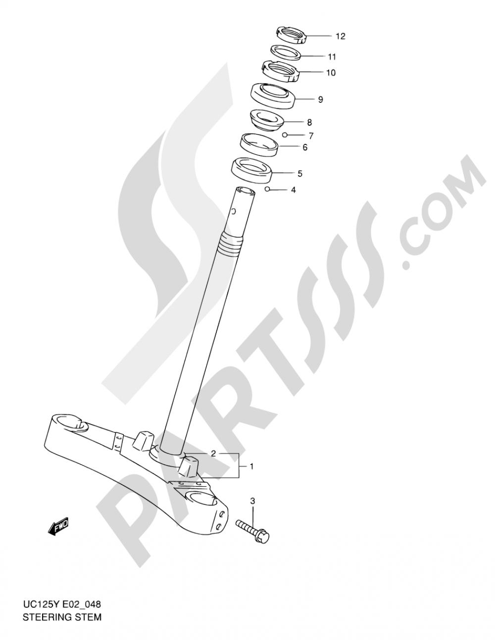 48 - STEERING STEM Suzuki EPICURO UC125 2001