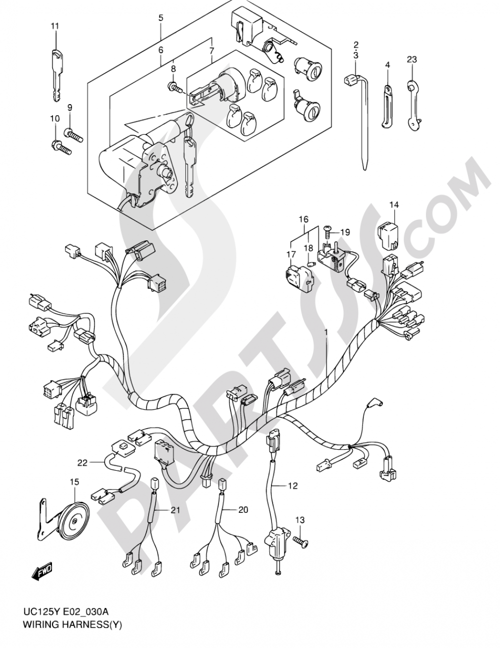 30A - WIRING HARNESS (MODEL Y/K1) Suzuki EPICURO UC125 2000 Model Wiring on