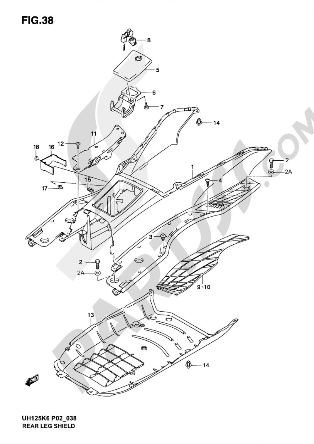 38 - REAR LEG SHIELD Suzuki BURGMAN UH125 2002