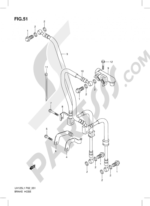 51 - BRAKE HOSE Suzuki BURGMAN UH125 2011