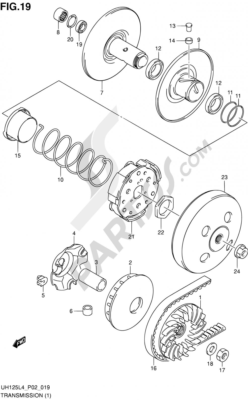 19 - TRANSMISSION (1) Suzuki BURGMAN UH125 2014