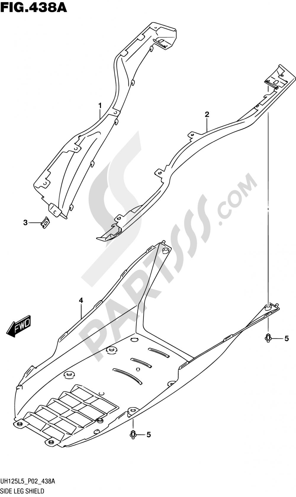 438A - SIDE LEG SHIELD Suzuki BURGMAN UH125 2015