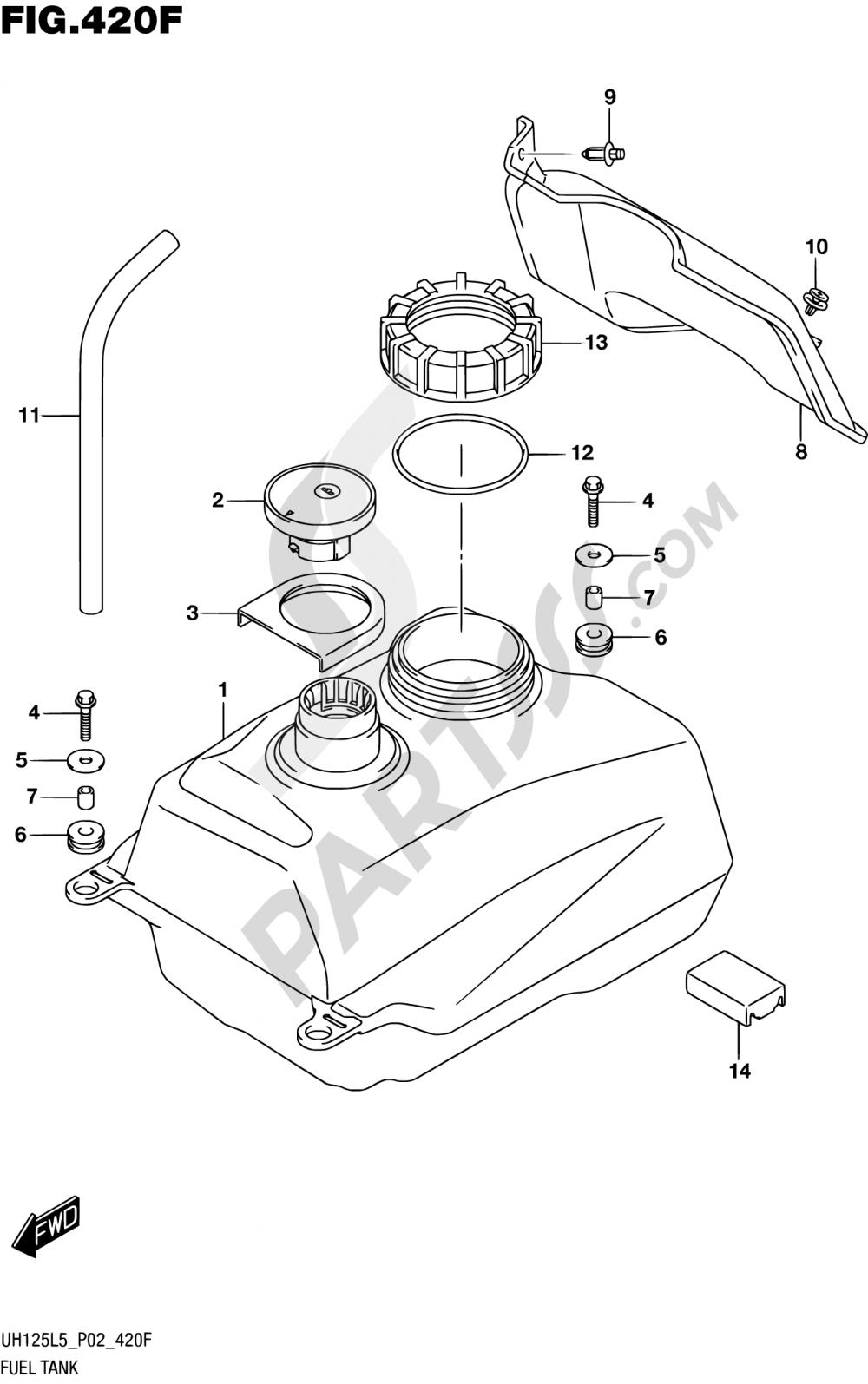 420F - FUEL TANK (UH125AL5 P19) Suzuki BURGMAN UH125 2015
