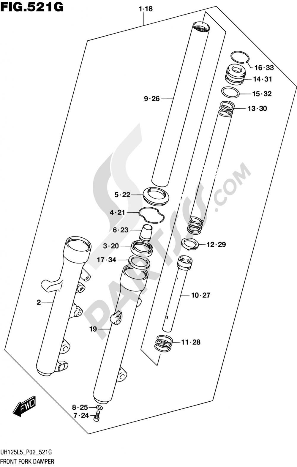 521G - FRONT FORK DAMPER (UH125AL5 P34) Suzuki BURGMAN UH125 2015
