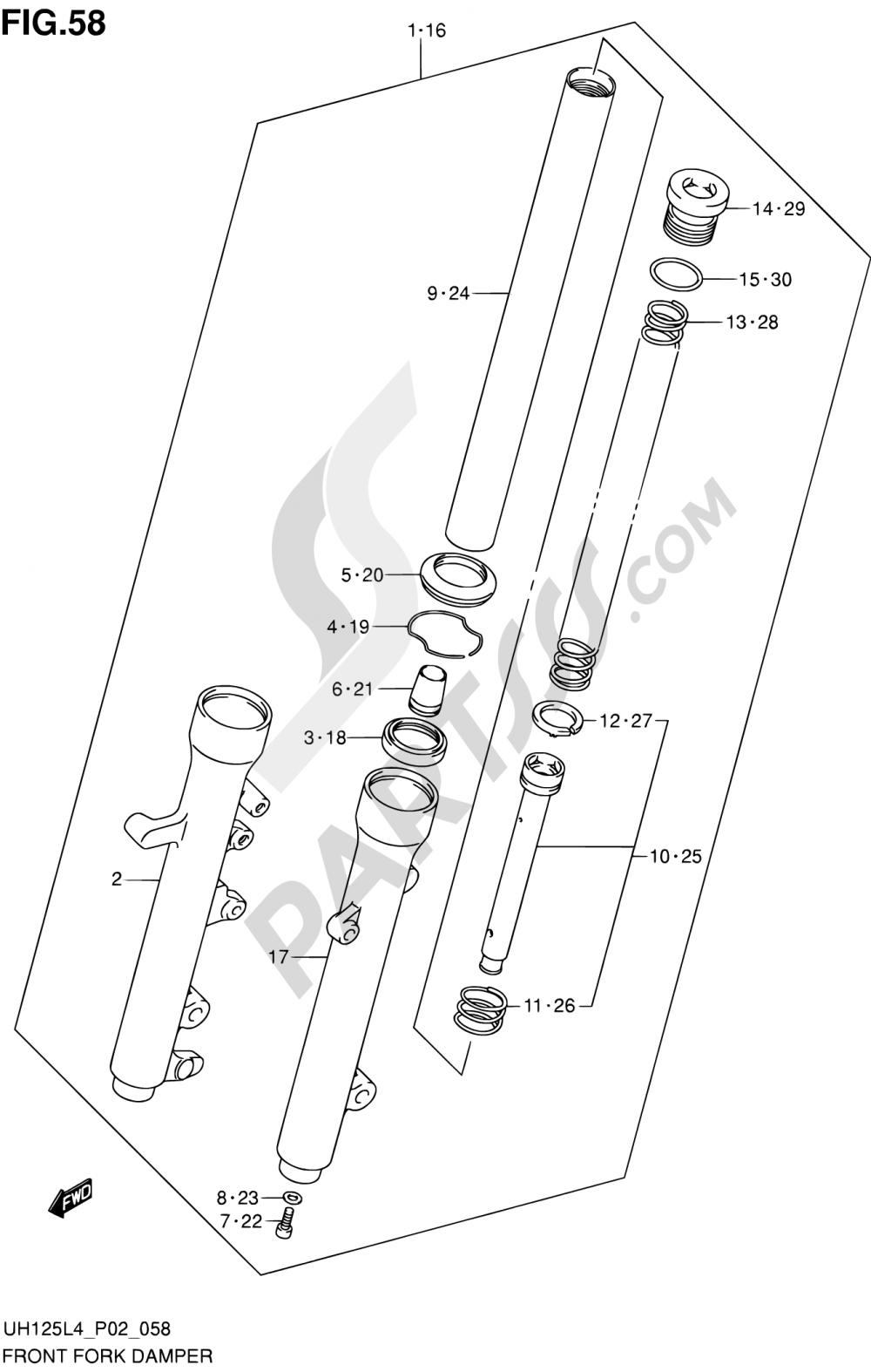 58 - FRONT FORK DAMPER (UH125L4 P02) Suzuki BURGMAN UH125A 2014